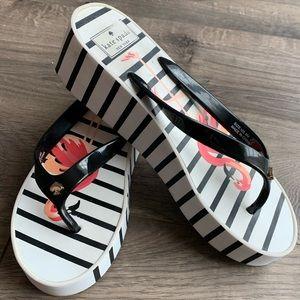 Kate Spade Striped Flamingo Wedge Sandals